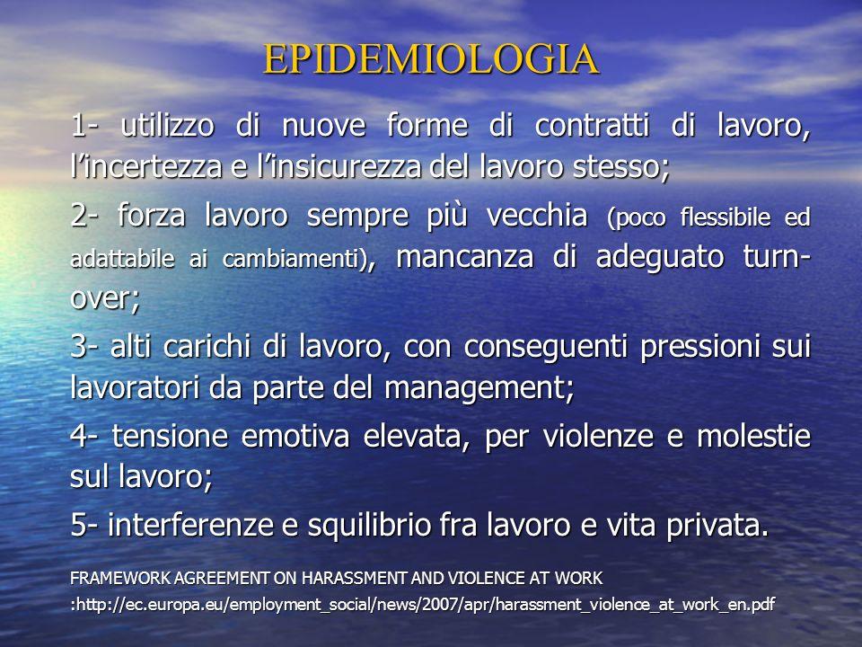 EPIDEMIOLOGIA 1- utilizzo di nuove forme di contratti di lavoro, l'incertezza e l'insicurezza del lavoro stesso;