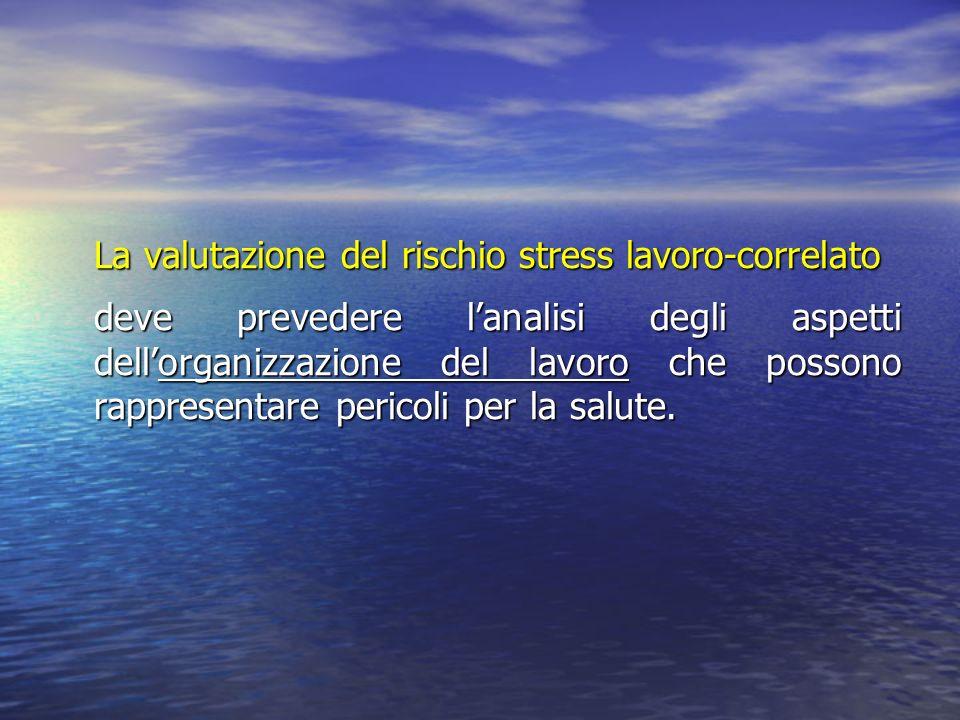 La valutazione del rischio stress lavoro-correlato deve prevedere l'analisi degli aspetti dell'organizzazione del lavoro che possono rappresentare pericoli per la salute.
