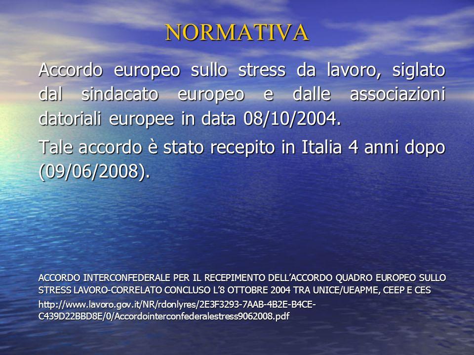 NORMATIVAAccordo europeo sullo stress da lavoro, siglato dal sindacato europeo e dalle associazioni datoriali europee in data 08/10/2004.