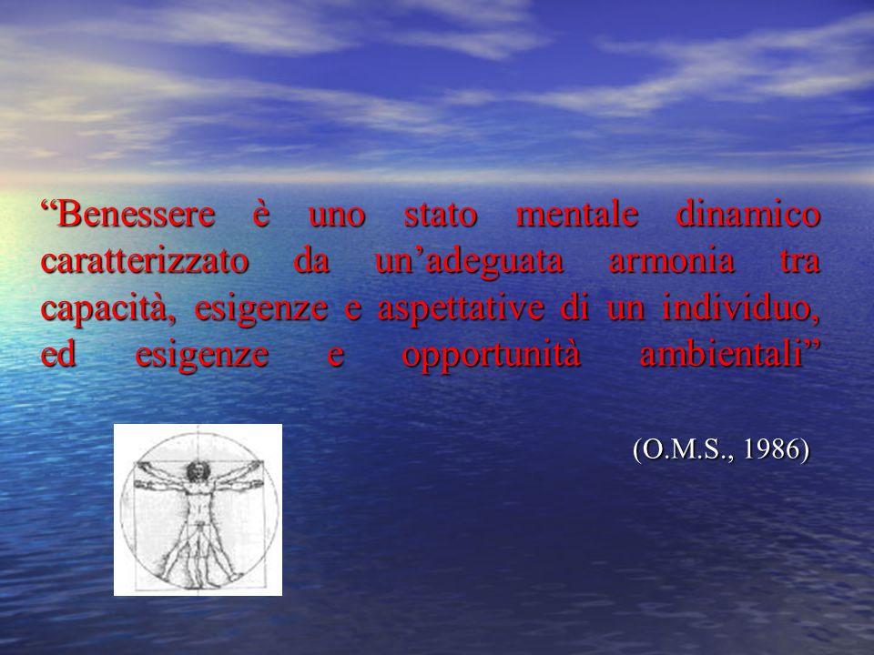 Benessere è uno stato mentale dinamico caratterizzato da un'adeguata armonia tra capacità, esigenze e aspettative di un individuo, ed esigenze e opportunità ambientali (O.M.S., 1986)