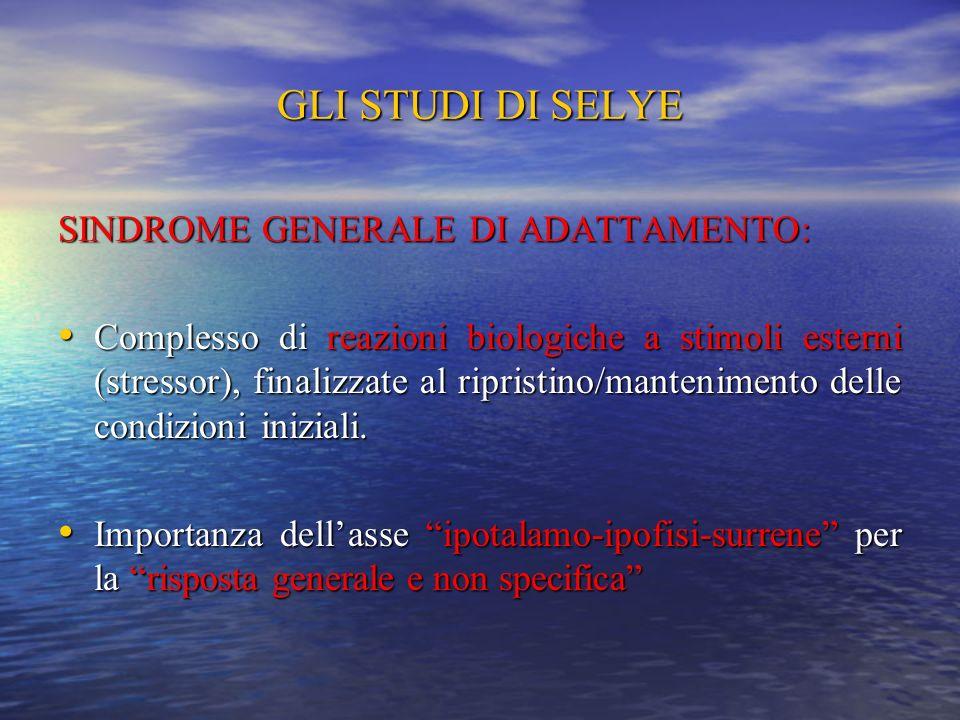 GLI STUDI DI SELYE SINDROME GENERALE DI ADATTAMENTO: