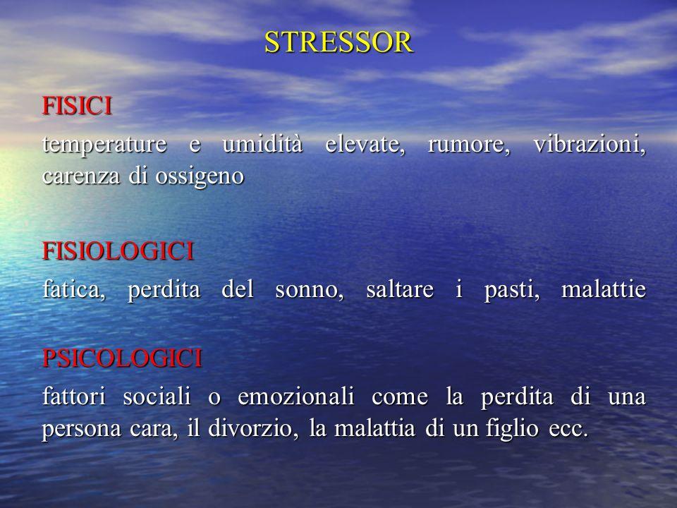 STRESSOR FISICI. temperature e umidità elevate, rumore, vibrazioni, carenza di ossigeno. FISIOLOGICI.