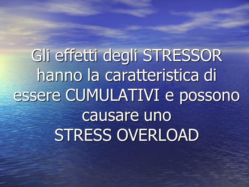 Gli effetti degli STRESSOR hanno la caratteristica di essere CUMULATIVI e possono causare uno STRESS OVERLOAD