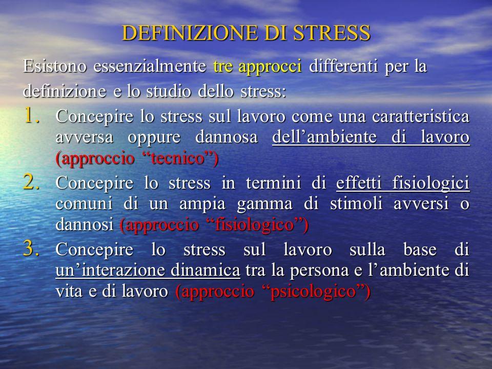 DEFINIZIONE DI STRESS Esistono essenzialmente tre approcci differenti per la. definizione e lo studio dello stress: