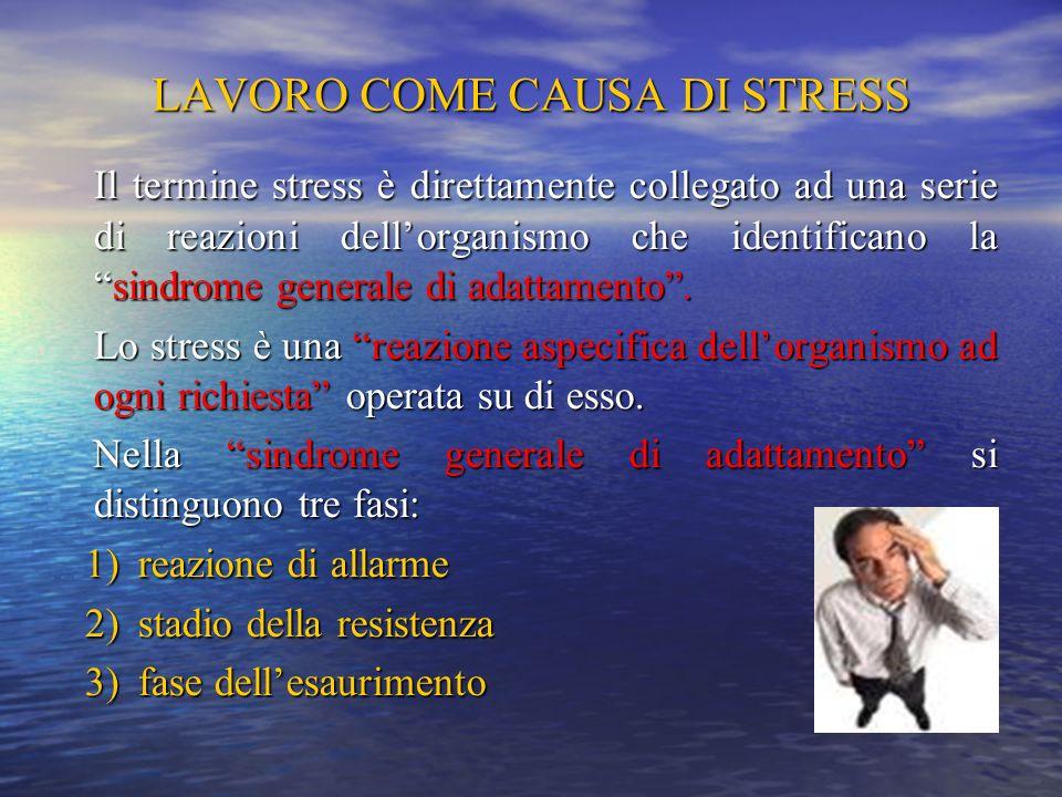 LAVORO COME CAUSA DI STRESS