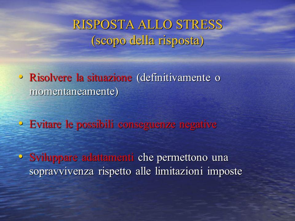 RISPOSTA ALLO STRESS (scopo della risposta)