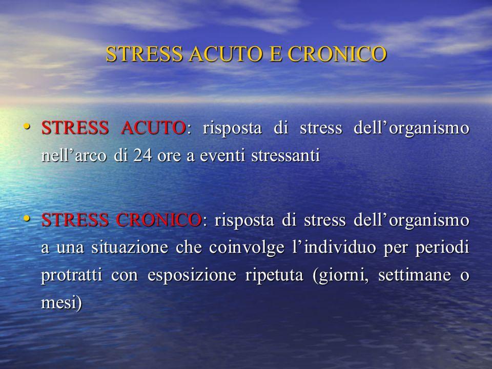 STRESS ACUTO E CRONICO STRESS ACUTO: risposta di stress dell'organismo nell'arco di 24 ore a eventi stressanti.