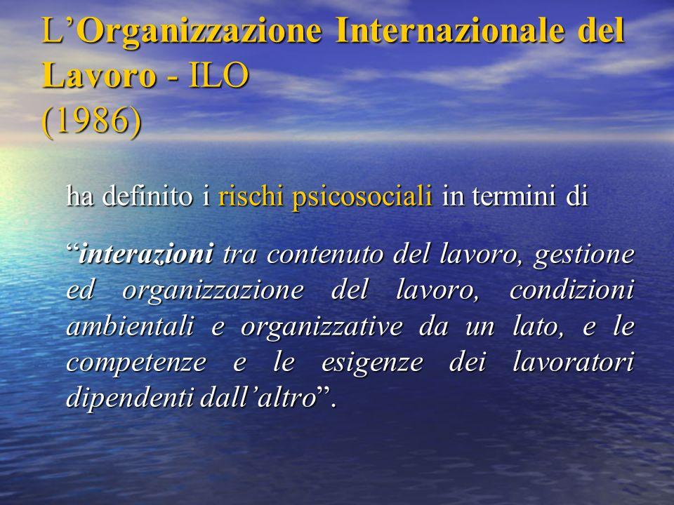 L'Organizzazione Internazionale del Lavoro - ILO (1986)