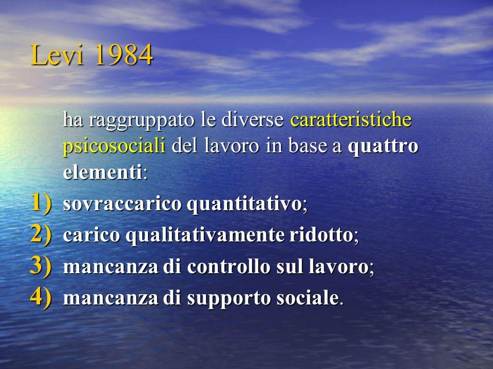 Levi 1984 ha raggruppato le diverse caratteristiche psicosociali del lavoro in base a quattro elementi: