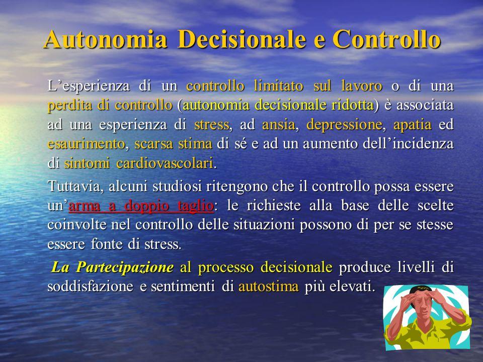 Autonomia Decisionale e Controllo