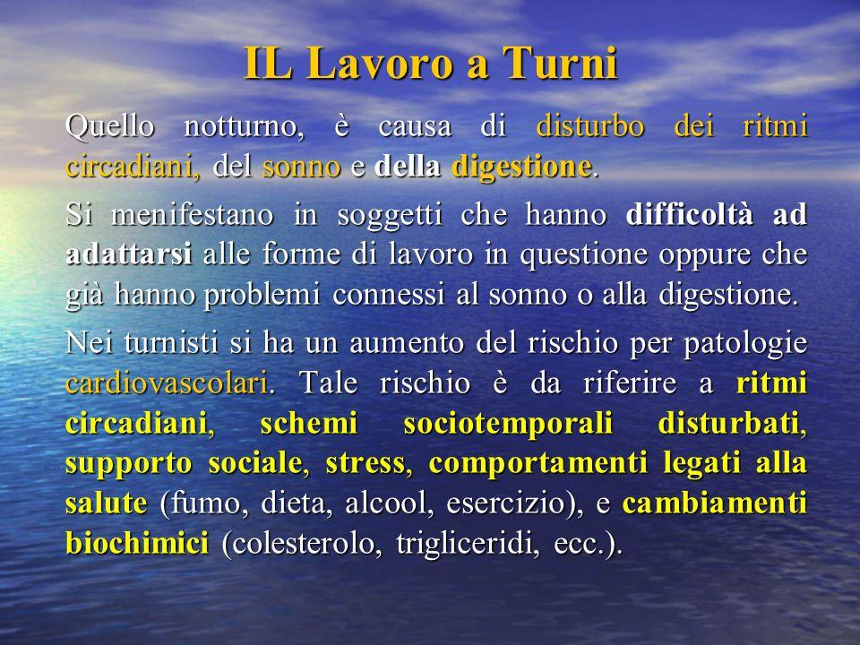 IL Lavoro a TurniQuello notturno, è causa di disturbo dei ritmi circadiani, del sonno e della digestione.
