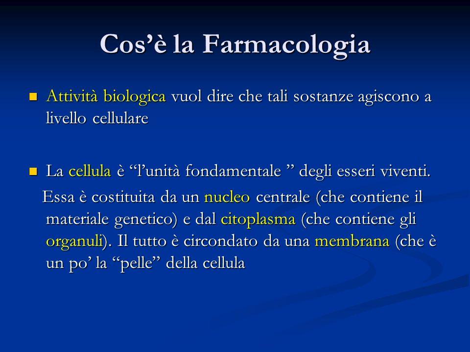 Cos'è la Farmacologia Attività biologica vuol dire che tali sostanze agiscono a livello cellulare.