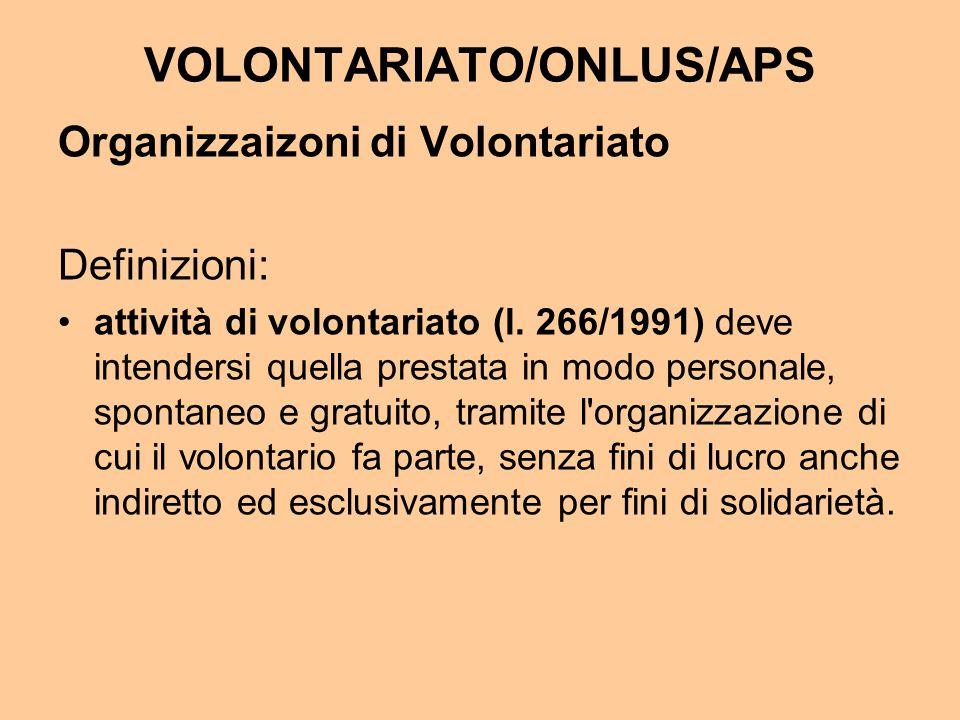 VOLONTARIATO/ONLUS/APS