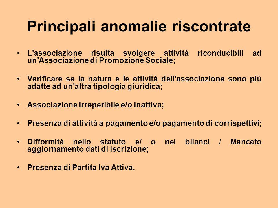 Principali anomalie riscontrate