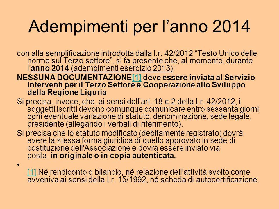 Adempimenti per l'anno 2014