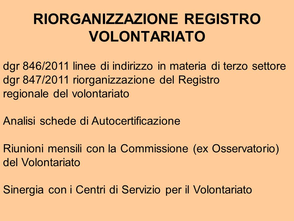 RIORGANIZZAZIONE REGISTRO VOLONTARIATO