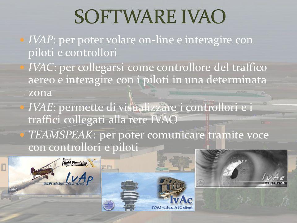 SOFTWARE IVAO IVAP: per poter volare on-line e interagire con piloti e controllori.