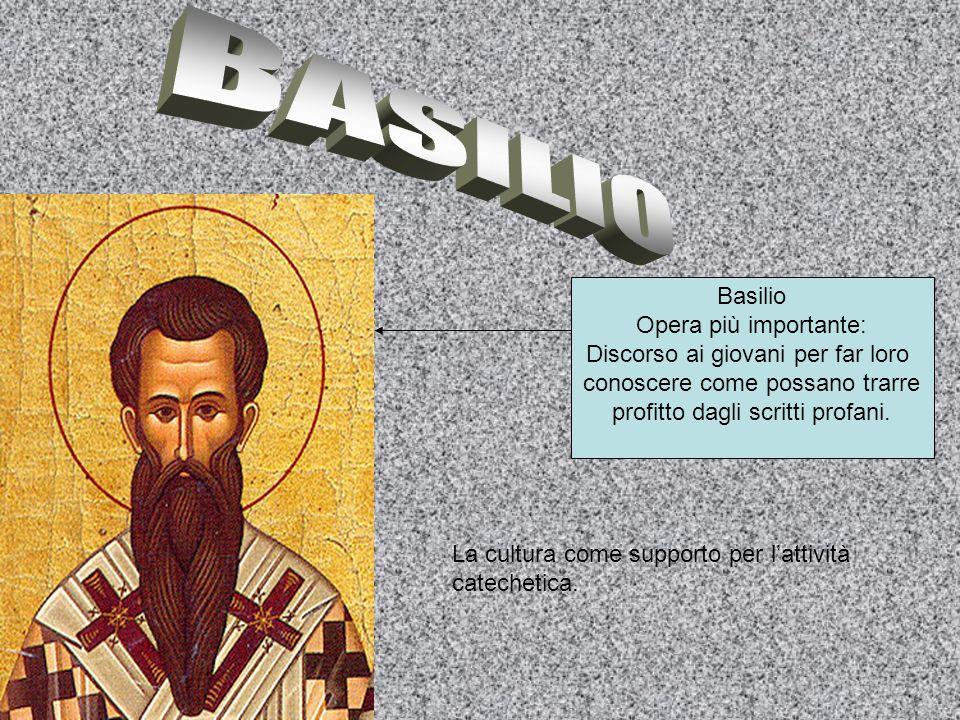 BASILIO Basilio Opera più importante: Discorso ai giovani per far loro