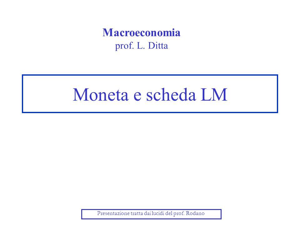 Moneta e scheda LM Macroeconomia prof. L. Ditta