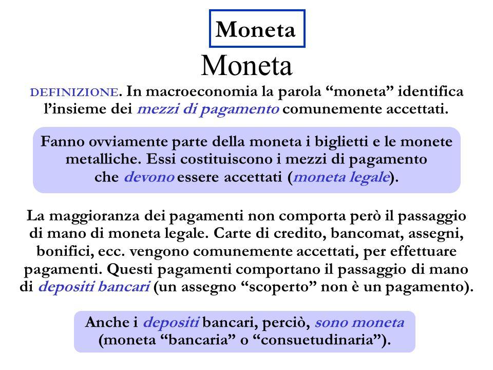 Moneta Moneta. DEFINIZIONE. In macroeconomia la parola moneta identifica l'insieme dei mezzi di pagamento comunemente accettati.