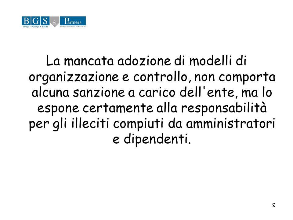 La mancata adozione di modelli di organizzazione e controllo, non comporta alcuna sanzione a carico dell ente, ma lo espone certamente alla responsabilità per gli illeciti compiuti da amministratori e dipendenti.