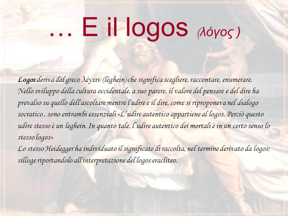 … E il logos (λόγος ) Logos deriva dal greco λέγειν (léghein) che significa scegliere, raccontare, enumerare.