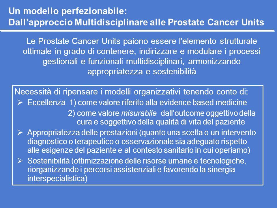 Un modello perfezionabile: Dall'approccio Multidisciplinare alle Prostate Cancer Units