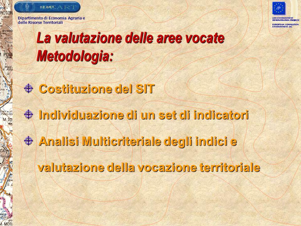 La valutazione delle aree vocate Metodologia: