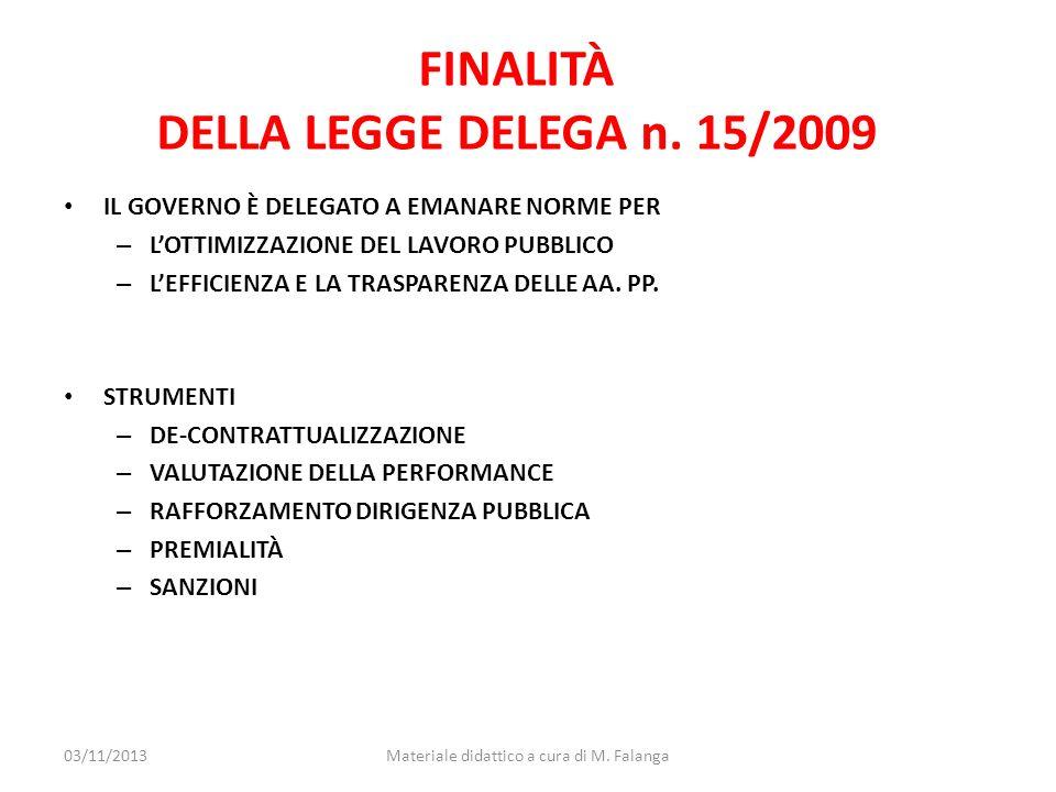 FINALITÀ DELLA LEGGE DELEGA n. 15/2009