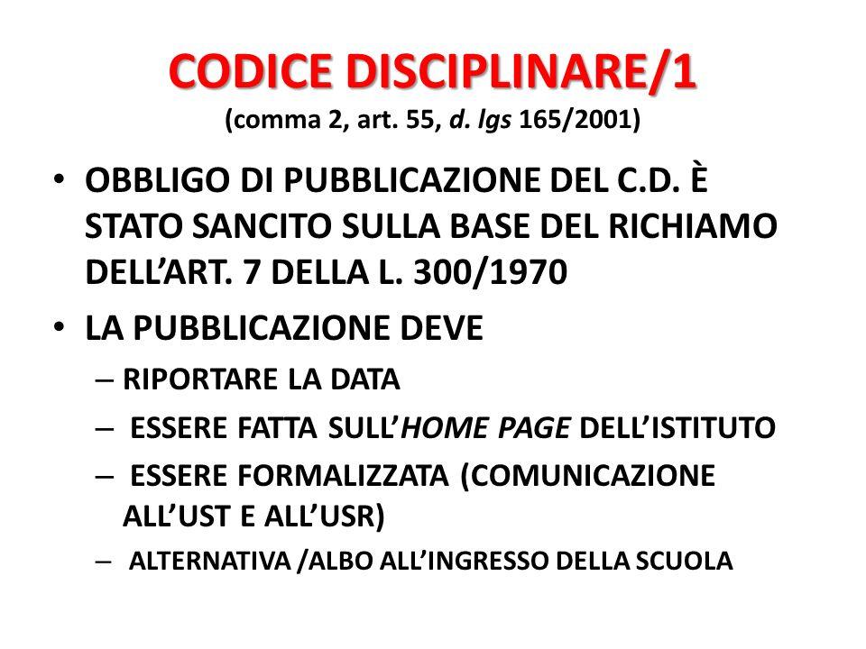 CODICE DISCIPLINARE/1 (comma 2, art. 55, d. lgs 165/2001)