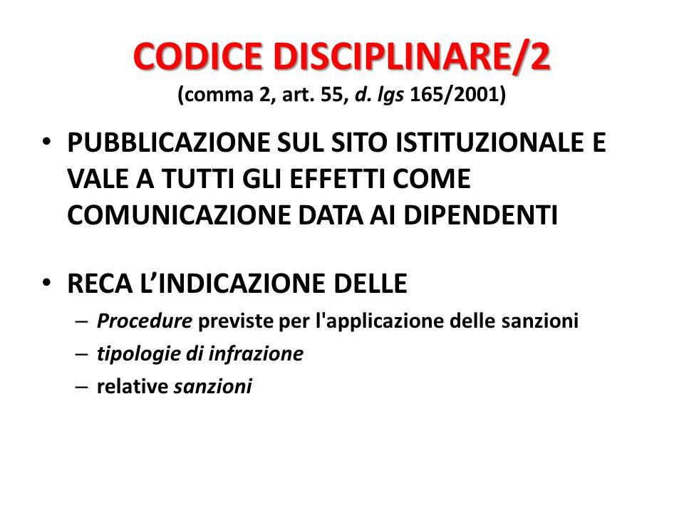 CODICE DISCIPLINARE/2 (comma 2, art. 55, d. lgs 165/2001)