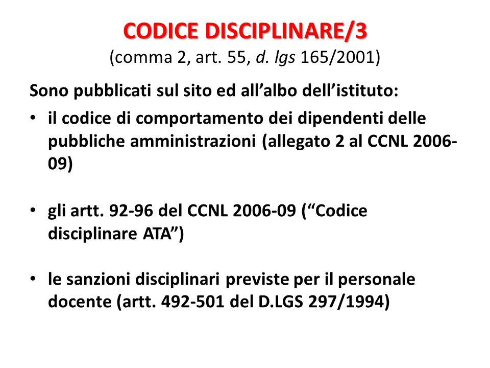 CODICE DISCIPLINARE/3 (comma 2, art. 55, d. lgs 165/2001)