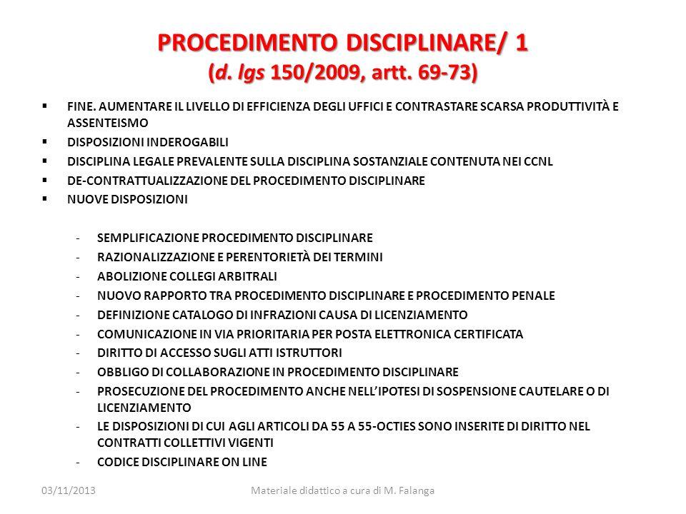PROCEDIMENTO DISCIPLINARE/ 1 (d. lgs 150/2009, artt. 69-73)