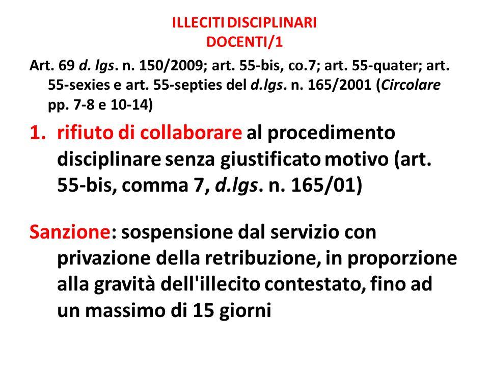 ILLECITI DISCIPLINARI DOCENTI/1