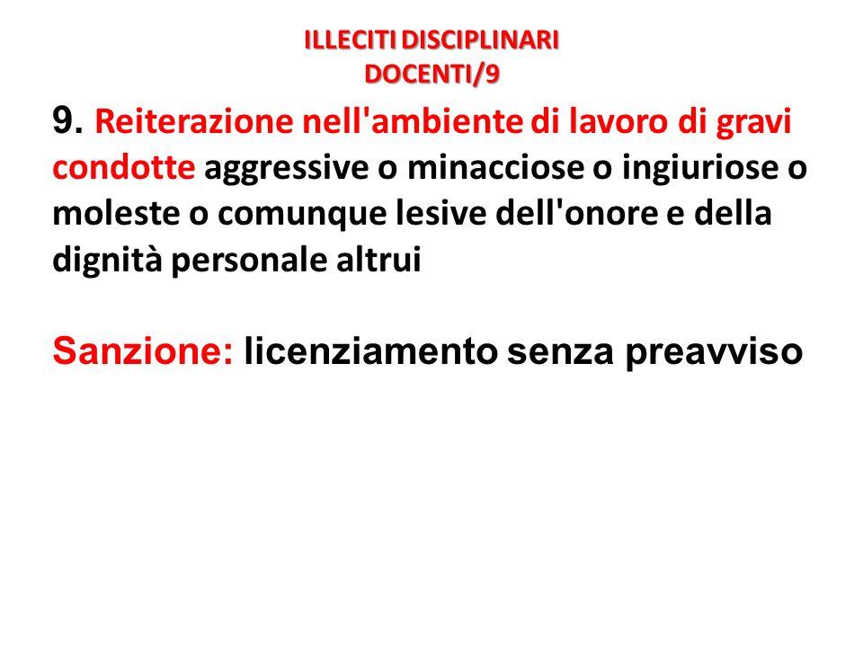 ILLECITI DISCIPLINARI DOCENTI/9