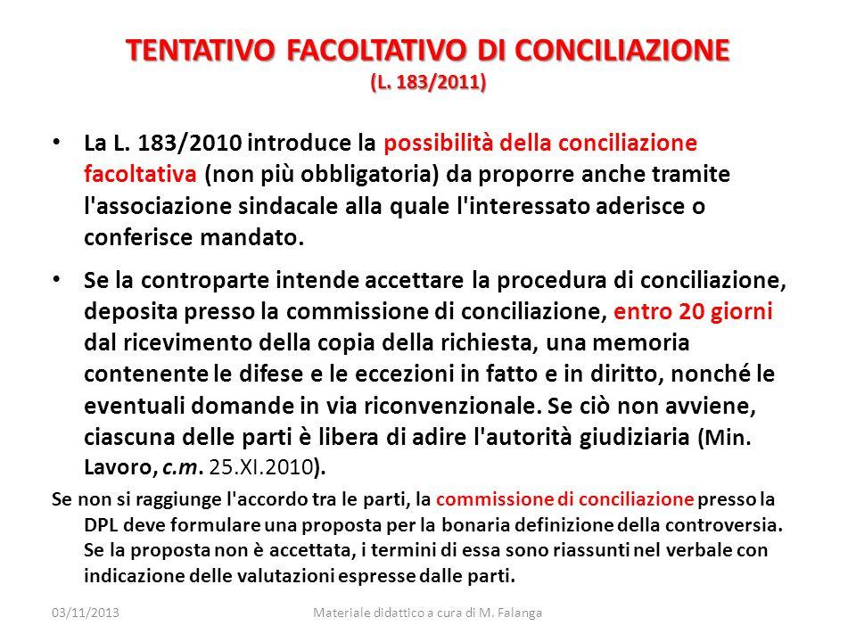 TENTATIVO FACOLTATIVO DI CONCILIAZIONE (L. 183/2011)