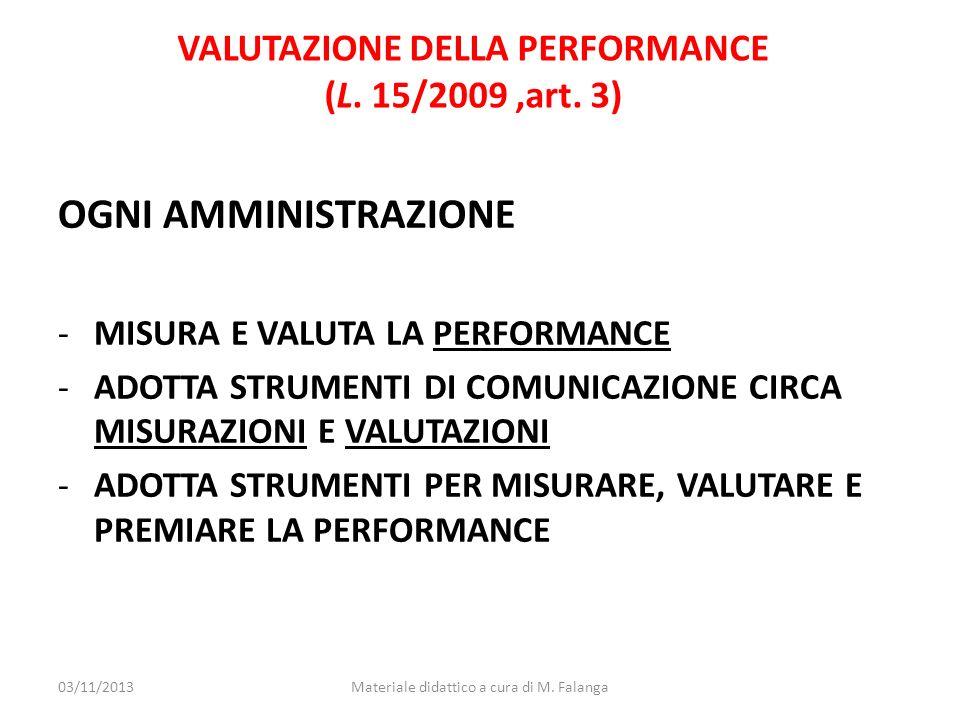 VALUTAZIONE DELLA PERFORMANCE (L. 15/2009 ,art. 3)
