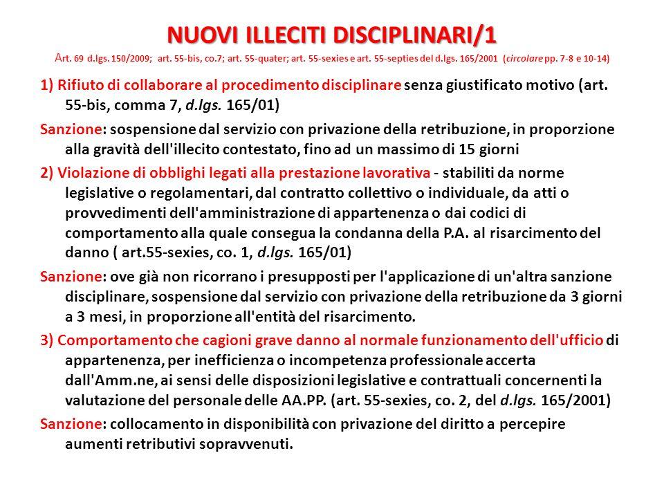 NUOVI ILLECITI DISCIPLINARI/1 Art. 69 d.lgs. 150/2009; art. 55-bis, co.7; art. 55-quater; art. 55-sexies e art. 55-septies del d.lgs. 165/2001 (circolare pp. 7-8 e 10-14)