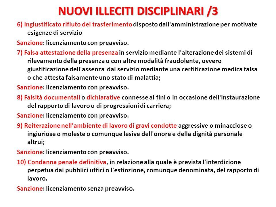 NUOVI ILLECITI DISCIPLINARI /3