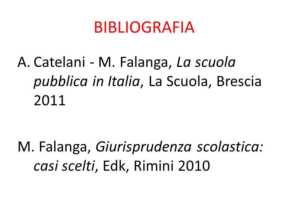 BIBLIOGRAFIA Catelani - M. Falanga, La scuola pubblica in Italia, La Scuola, Brescia 2011.