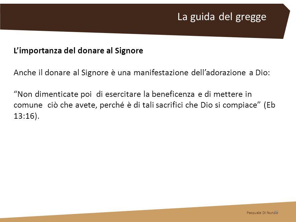 La guida del gregge L'importanza del donare al Signore