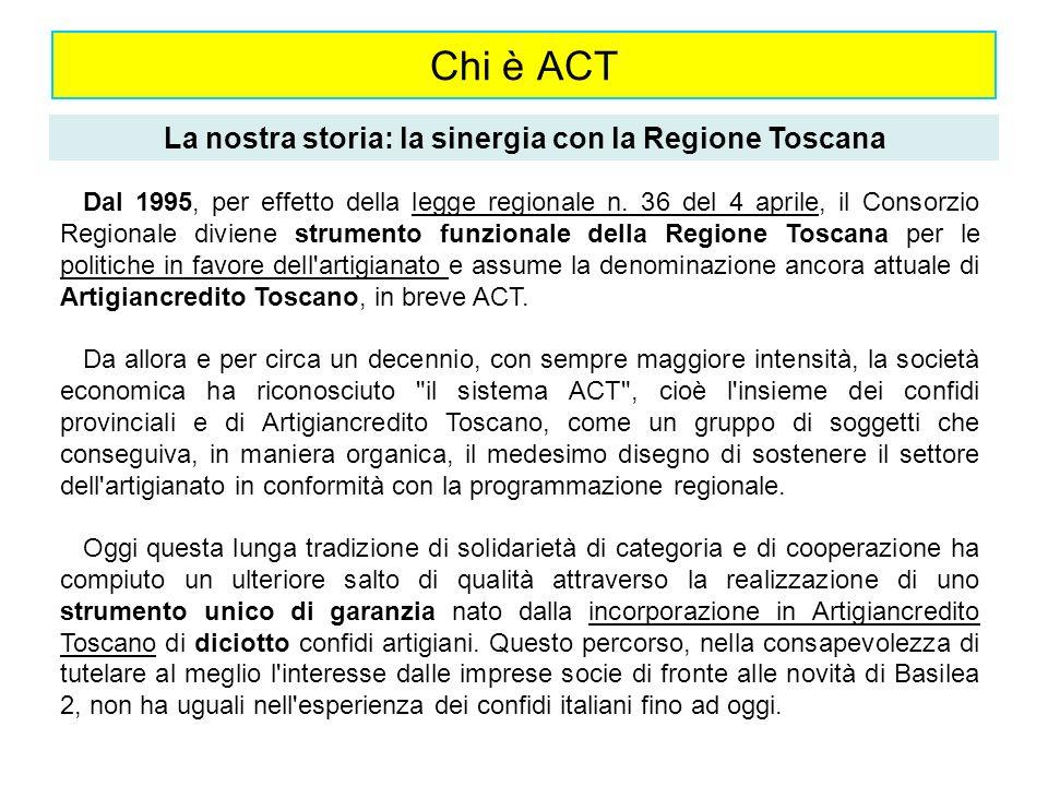 La nostra storia: la sinergia con la Regione Toscana