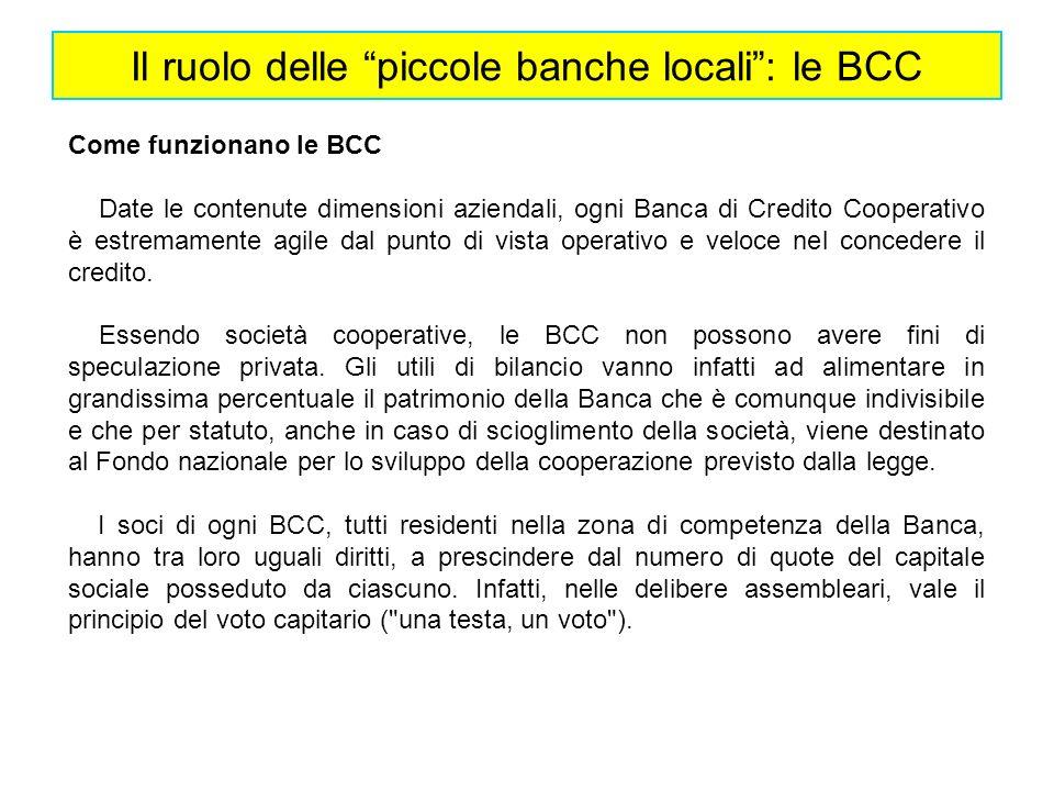 Il ruolo delle piccole banche locali : le BCC