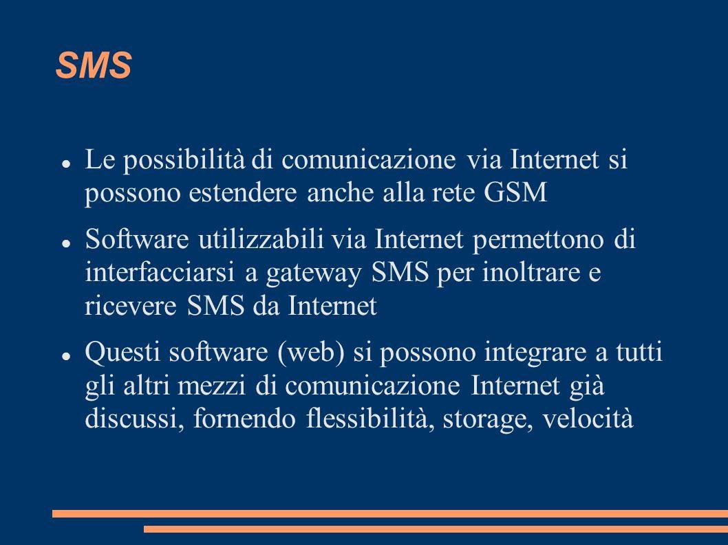 SMS Le possibilità di comunicazione via Internet si possono estendere anche alla rete GSM.