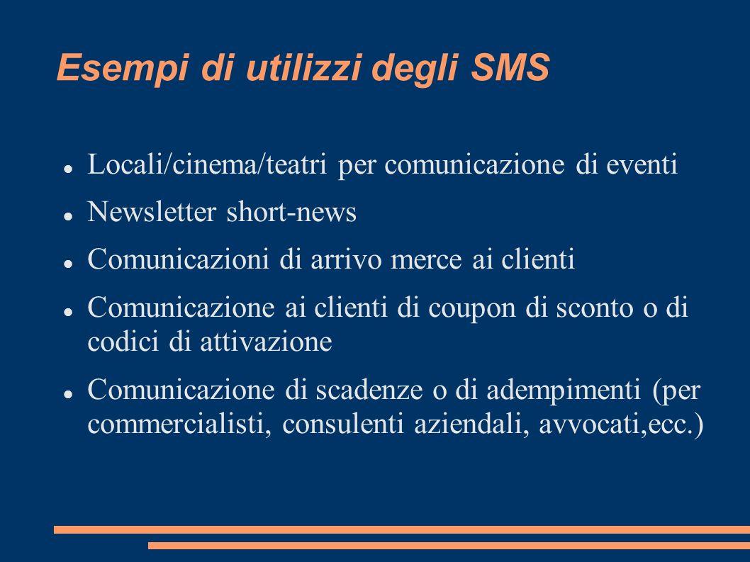 Esempi di utilizzi degli SMS