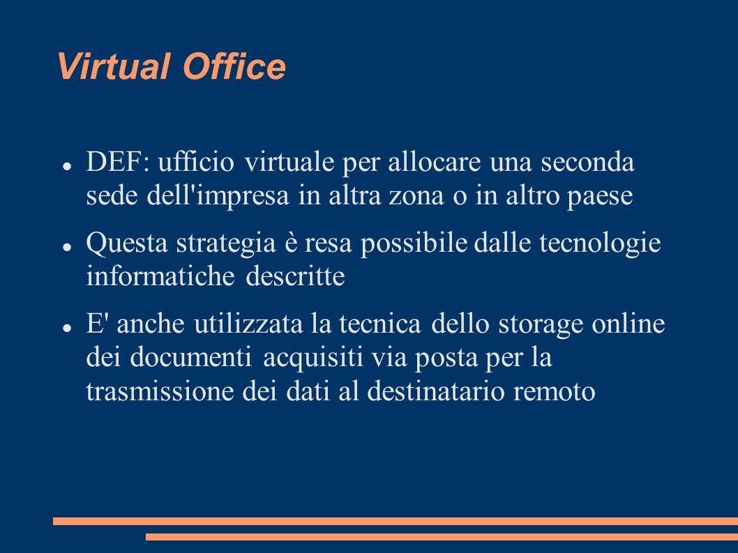 Virtual Office DEF: ufficio virtuale per allocare una seconda sede dell impresa in altra zona o in altro paese.