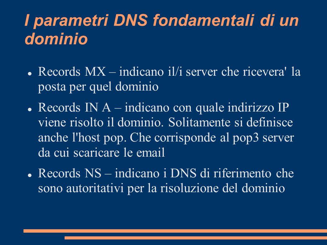 I parametri DNS fondamentali di un dominio