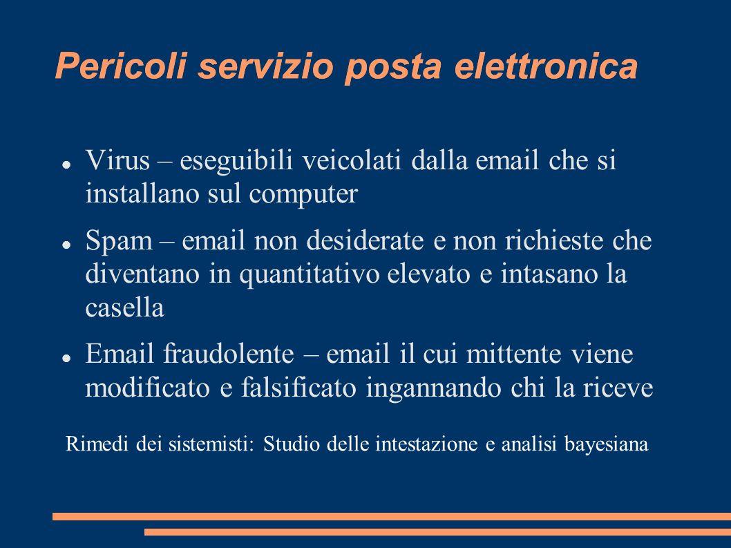 Pericoli servizio posta elettronica