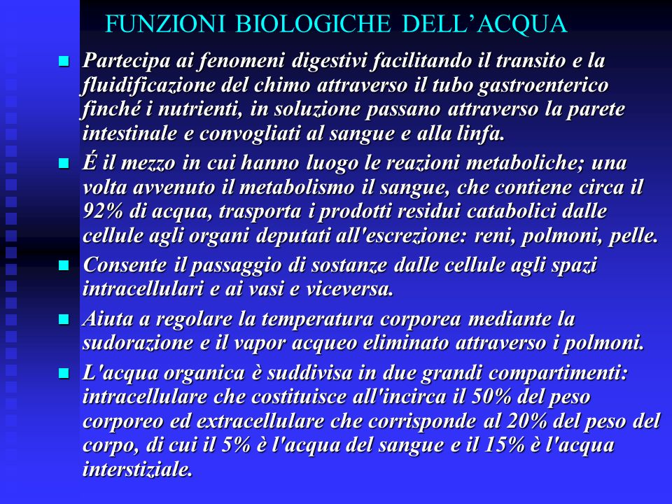 FUNZIONI BIOLOGICHE DELL'ACQUA