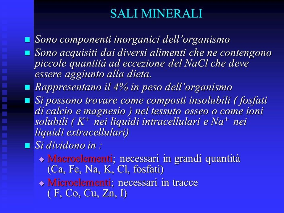 SALI MINERALI Sono componenti inorganici dell'organismo